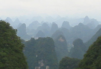 Breathtaking view of Yangshuo's scenery from the top of Moon Hill