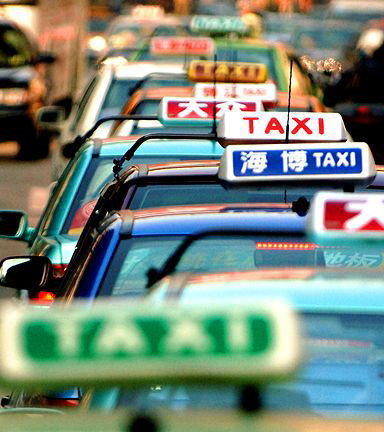 Different taxis in Shanghai.