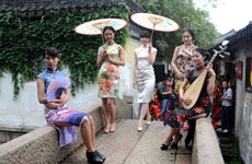 Qipao Models Pose Around Suzhou Old Town
